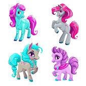 Cute cartoon little horses set