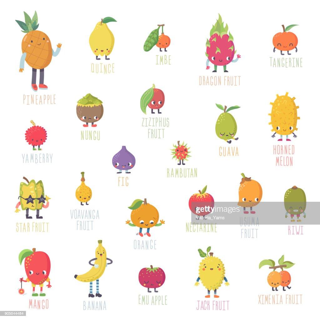 Cute cartoon live exotic fruits vector set.