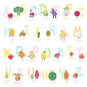 Cute cartoon live fruits and vegetables vector alphabet.
