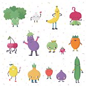 Cute cartoon live fruits and vegetables vector set. Part two.