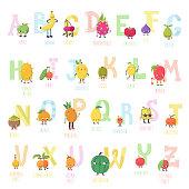 Cute cartoon live fruits vector alphabet.