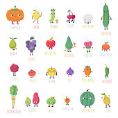 Cute cartoon live fruits & vegetables vector set. Part one.