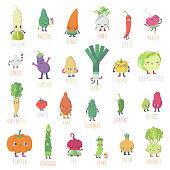 Cute cartoon live vegetables big vector big set.