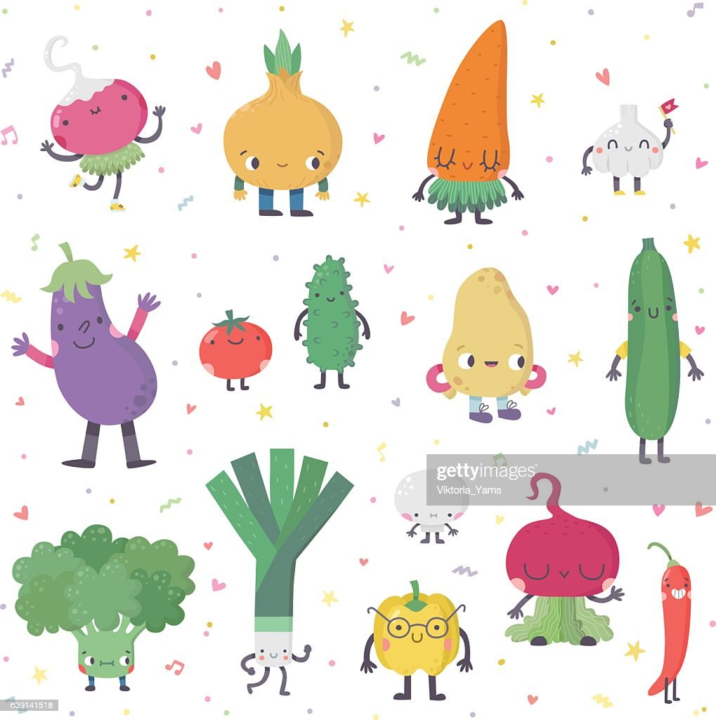 Cute cartoon live vegetables vector set in nice colors.