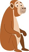 Cute cartoon monkey vector illustration