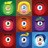 Cute cartoon monster faces vector set. square avatars and icons.