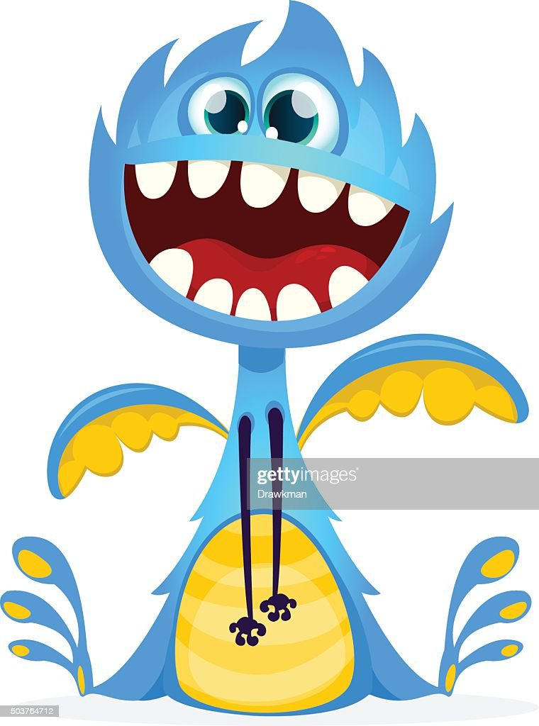 Cute cartoon monster. Vector dragon character