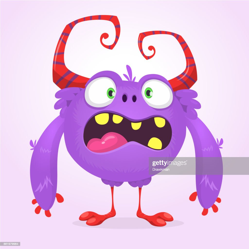 Cute cartoon monster. Vector  furry violet monster character with tiny legs and big horns. Halloween design