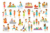 cute cartoon mother and children isolated vector illustration scenes set, mom with daughter son kids baby cook, bake, play ride bike, make exercise sport run yoga dance hug kiss walk, shopping, read book