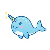 Cute cartoon narwhal