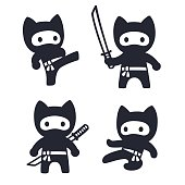 Cute cartoon ninja cat set