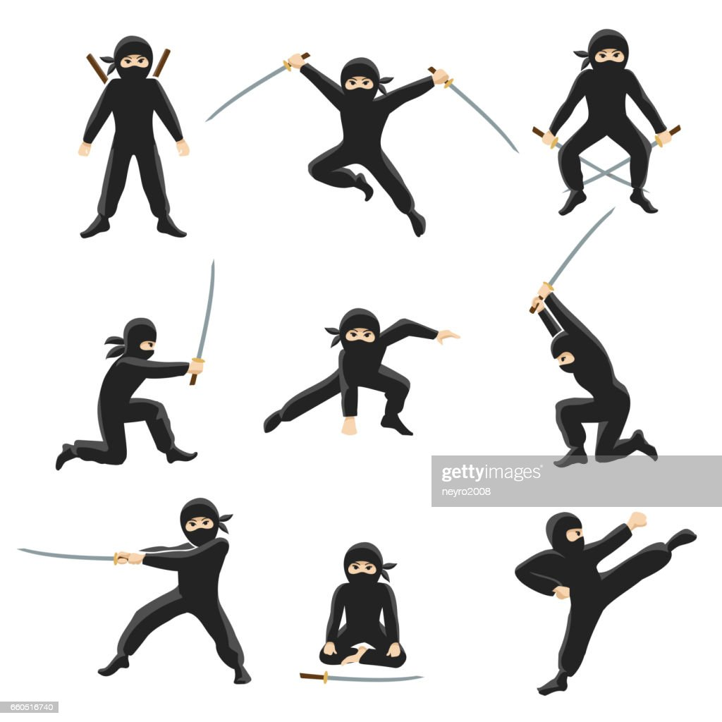 Cute cartoon ninja vector illustration. Kicking and jumping ninjas isolated on white background