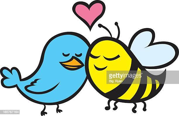 Cute cartoon of blue bird and yellow bee in love