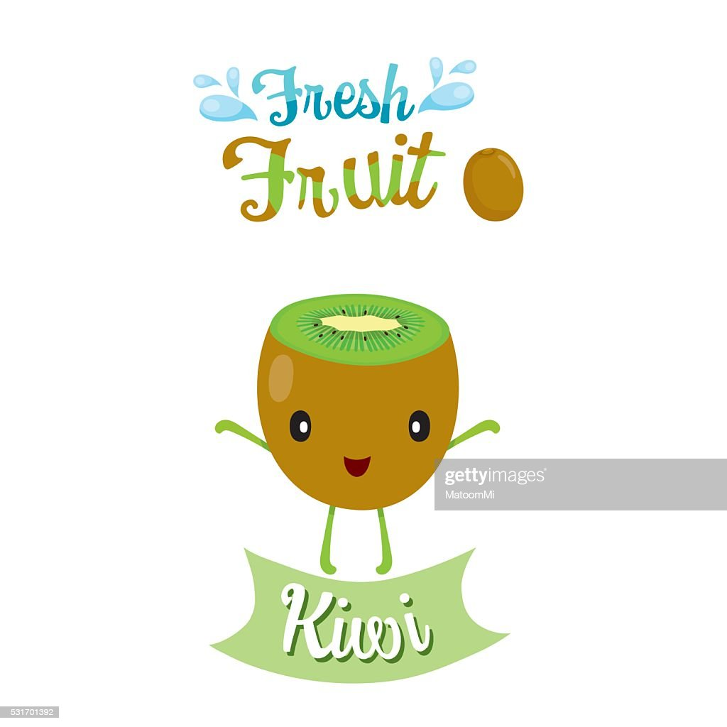 Cute Cartoon Of Kiwi Fruit, Banner, Logo