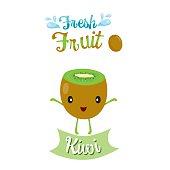 Cute Cartoon Of Kiwi Fruit, Banner, Logo