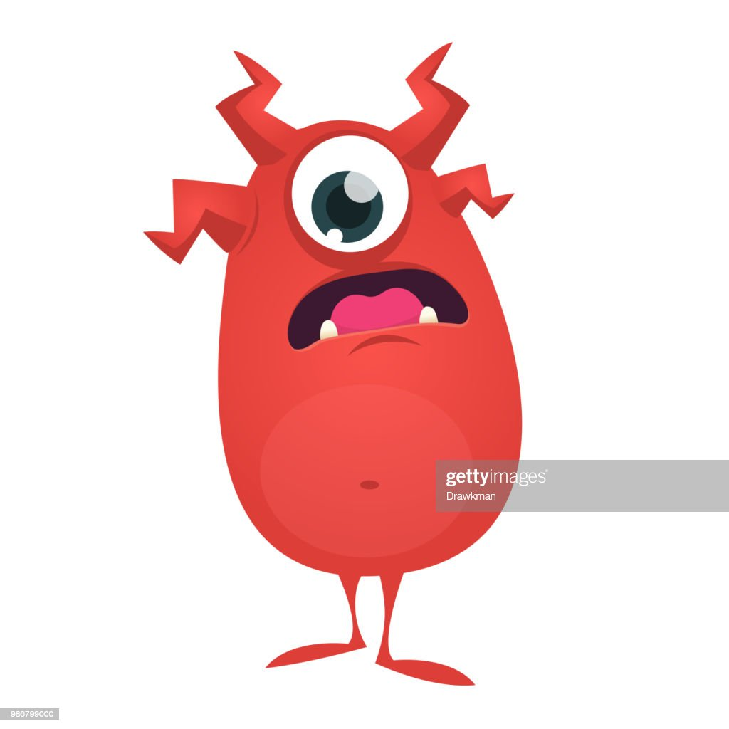 Cute cartoon one-eyed monster. Vector Halloween illustration of funny red  monster character