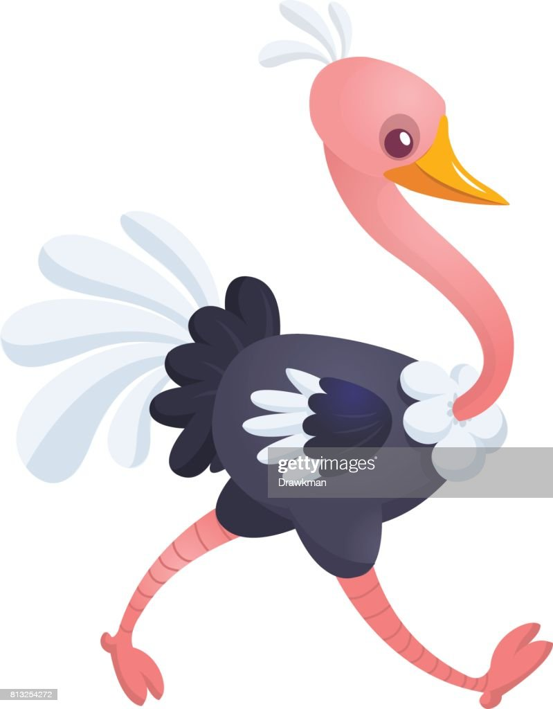 Cute cartoon ostrich. Vector character illustration for chlidren book.