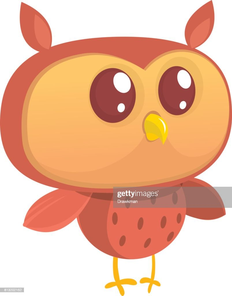 Cute cartoon  owl character. . Flat design. Vector illustration