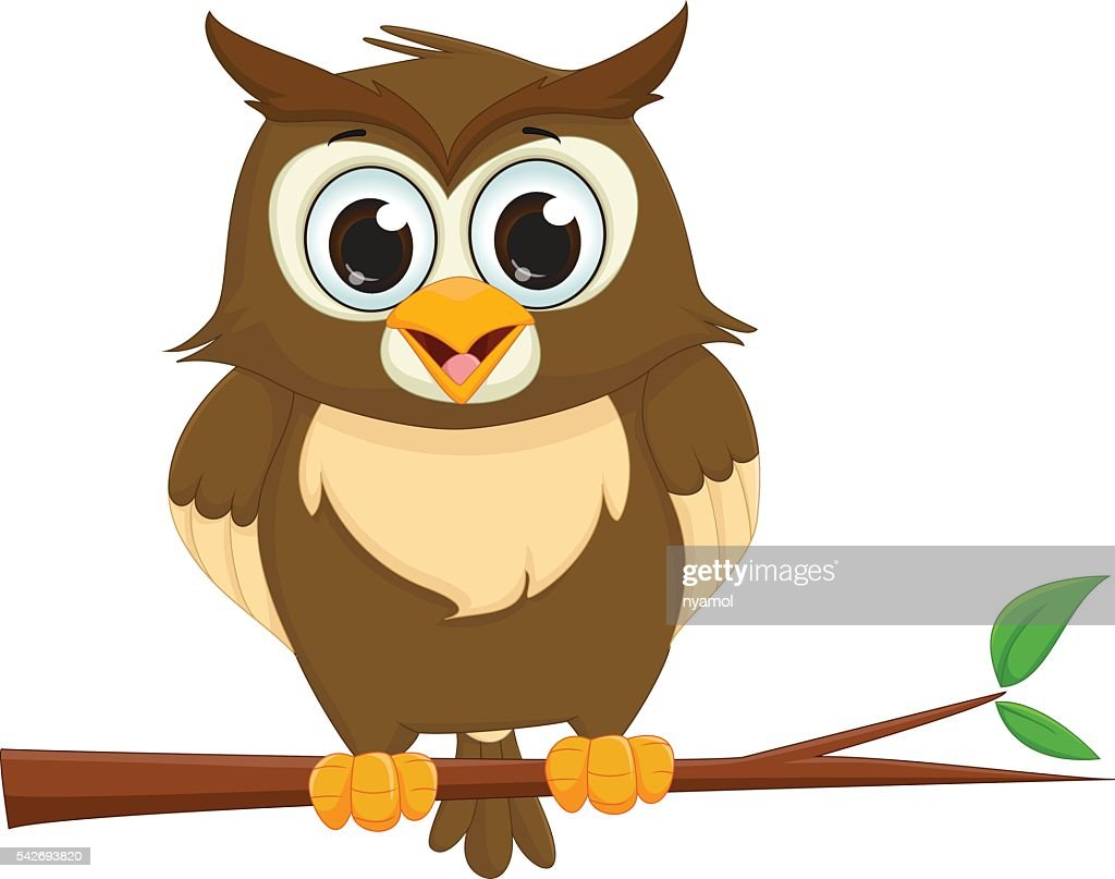 cute cartoon owl sitting on a tree branch