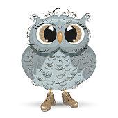 Cute cartoon Owl wise animal vector illustration.