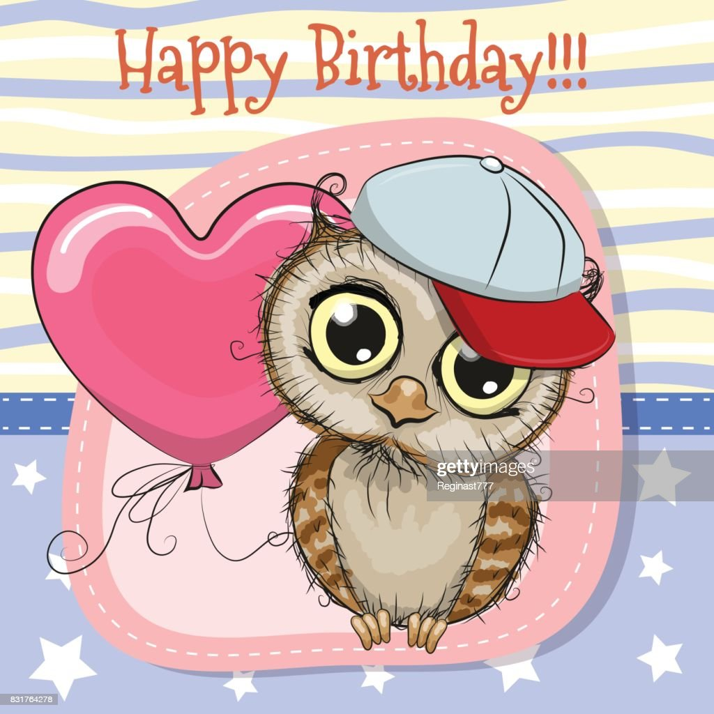 cute cartoon hibou avec un ballon clipart vectoriel getty images. Black Bedroom Furniture Sets. Home Design Ideas