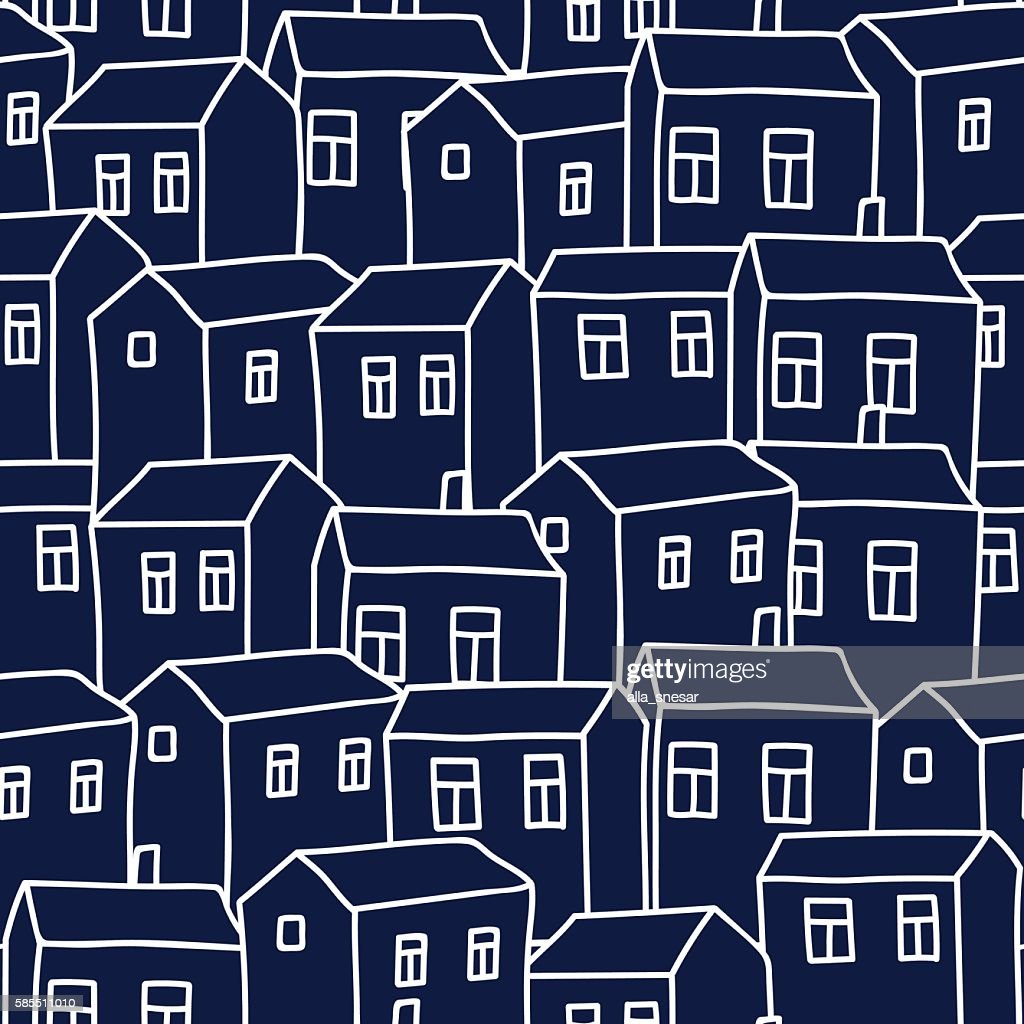 Cute cartoon pattern with houses. Seamless vector background.