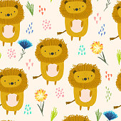 Cute cartoon pattern with lions, dots and flowers