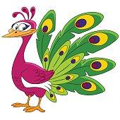 cute cartoon peacock