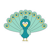 cute cartoon peacock vector illustration isolated on white background
