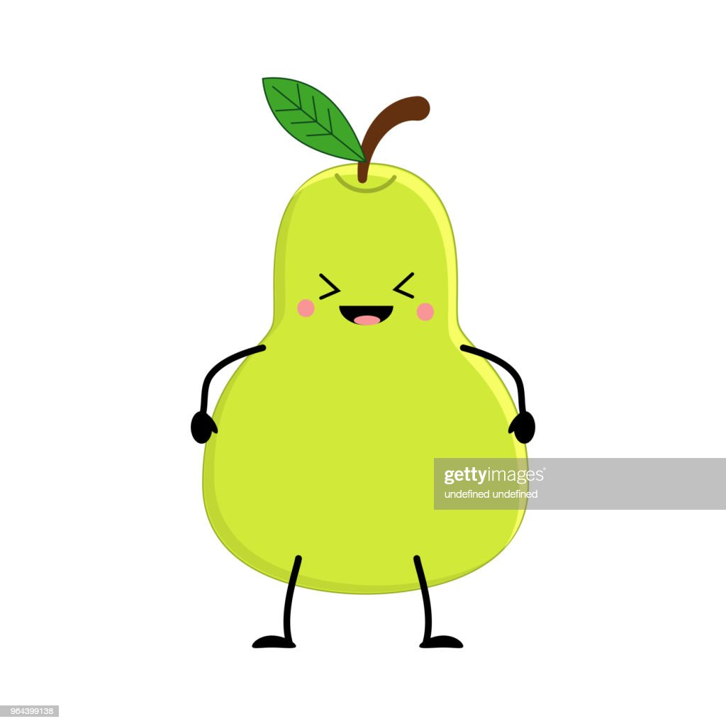 Cute cartoon pear. Kawai pear. Vector illustration isolated on w