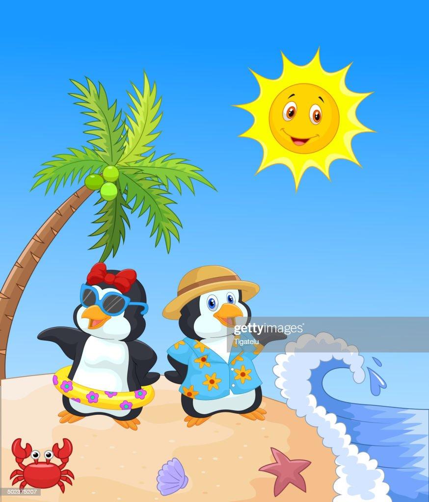 Niedliche Comic Pinguin Im Sommer Urlaub Vektorgrafik Getty Images
