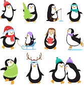 Cute cartoon penguins. Winter holidays vector animals set
