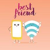 Cute cartoon phone and Wifi.