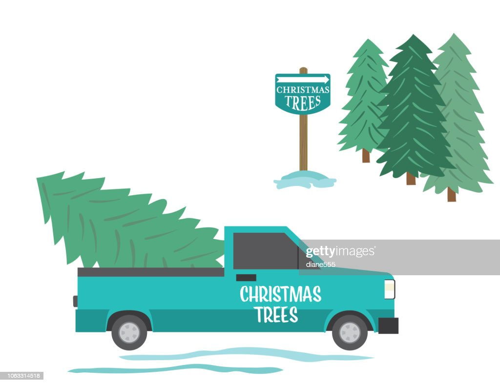 Cute Cartoon Pickup Truck Driving With A Christmas Tree High Res Vector Graphic Getty Images