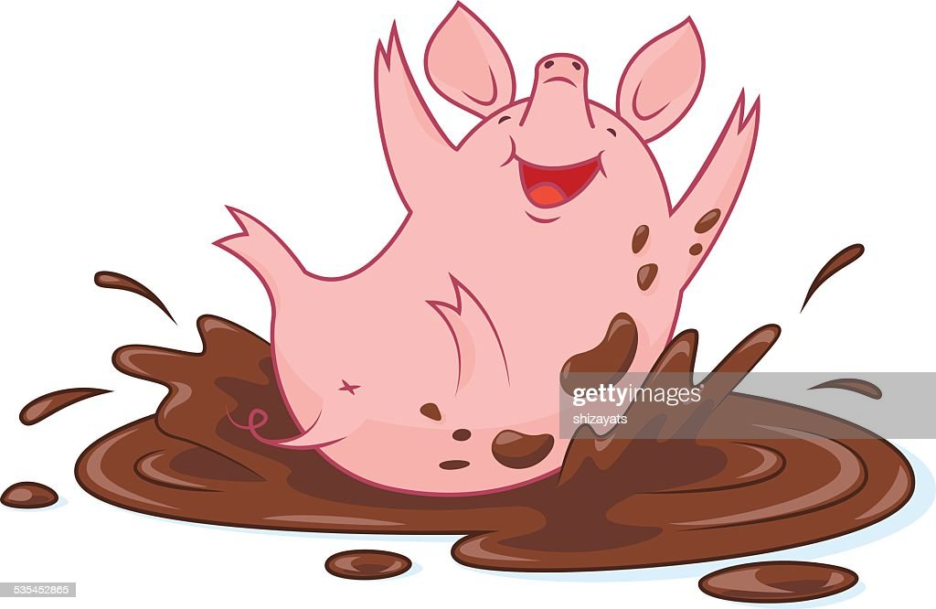 Cute cartoon pig playing in a mud puddle