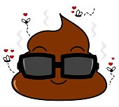 cute cartoon poo with in love flies
