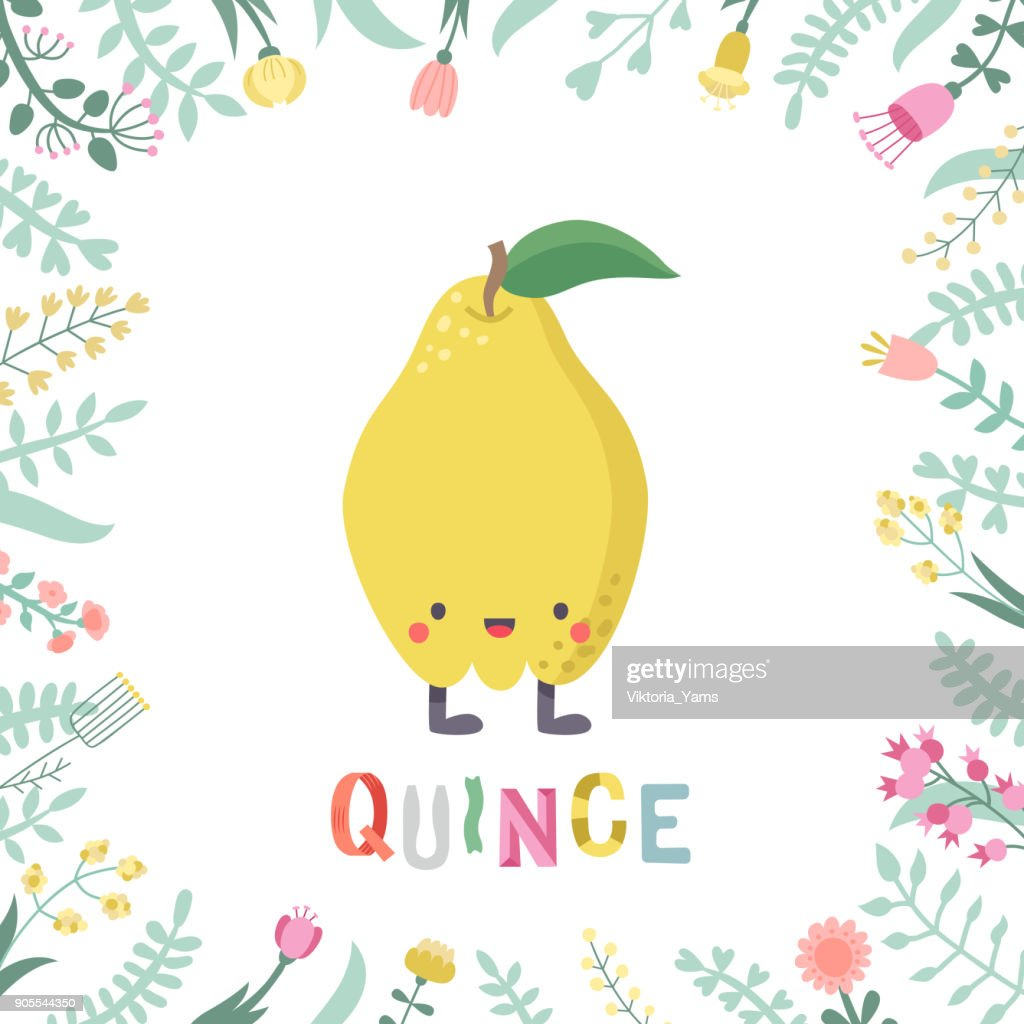 Cute cartoon quince illustration with flowers and lettering.