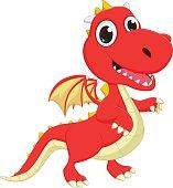 cute cartoon red dragon posing