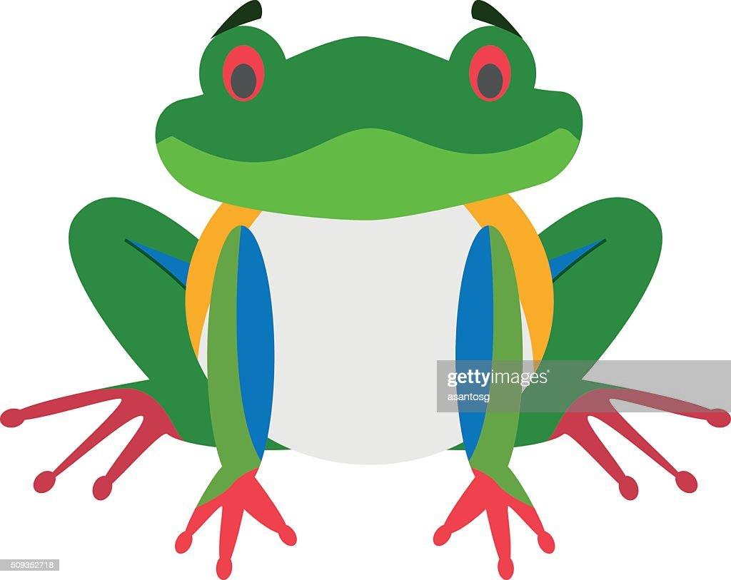 Cute cartoon red-legged frog vector illustration