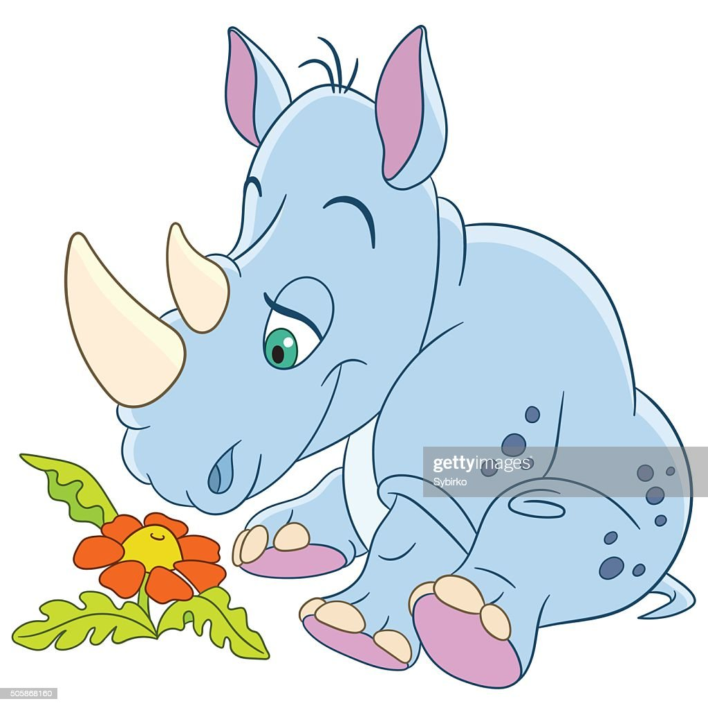 Cute Cartoon Rhino And Daisy Flower Vector Art Getty Images