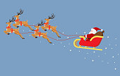 Cute cartoon Santa Claus flying on a sleigh with reindeers isolated on blue background - Vector illustration