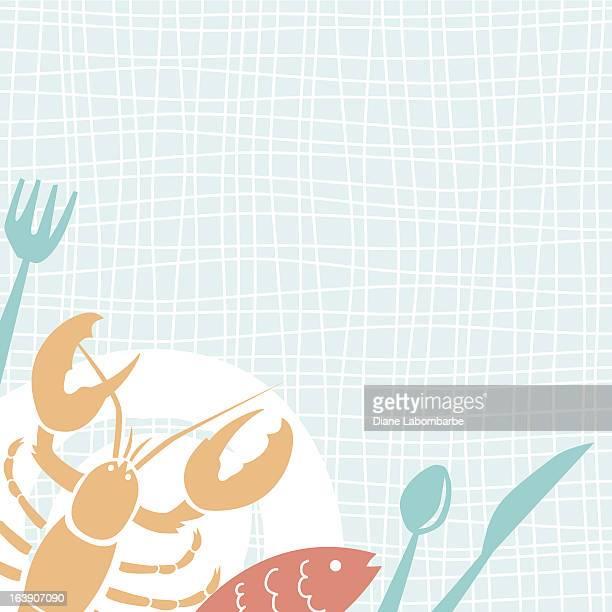 Cute Cartoon Seafood Dinner Plate Background