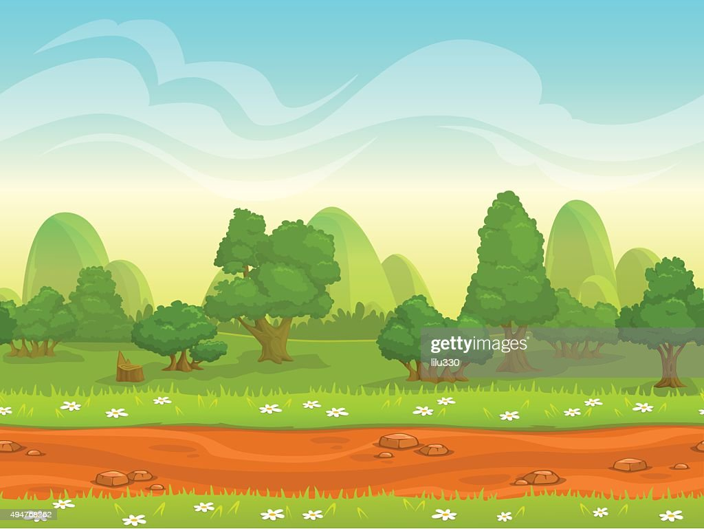 Cute cartoon seamless landscape