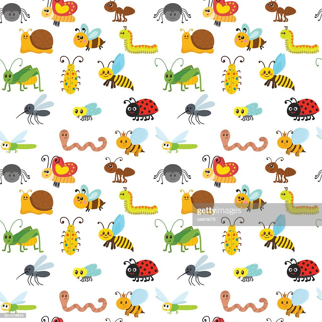 Cute cartoon seamless pattern with insects. Funny background