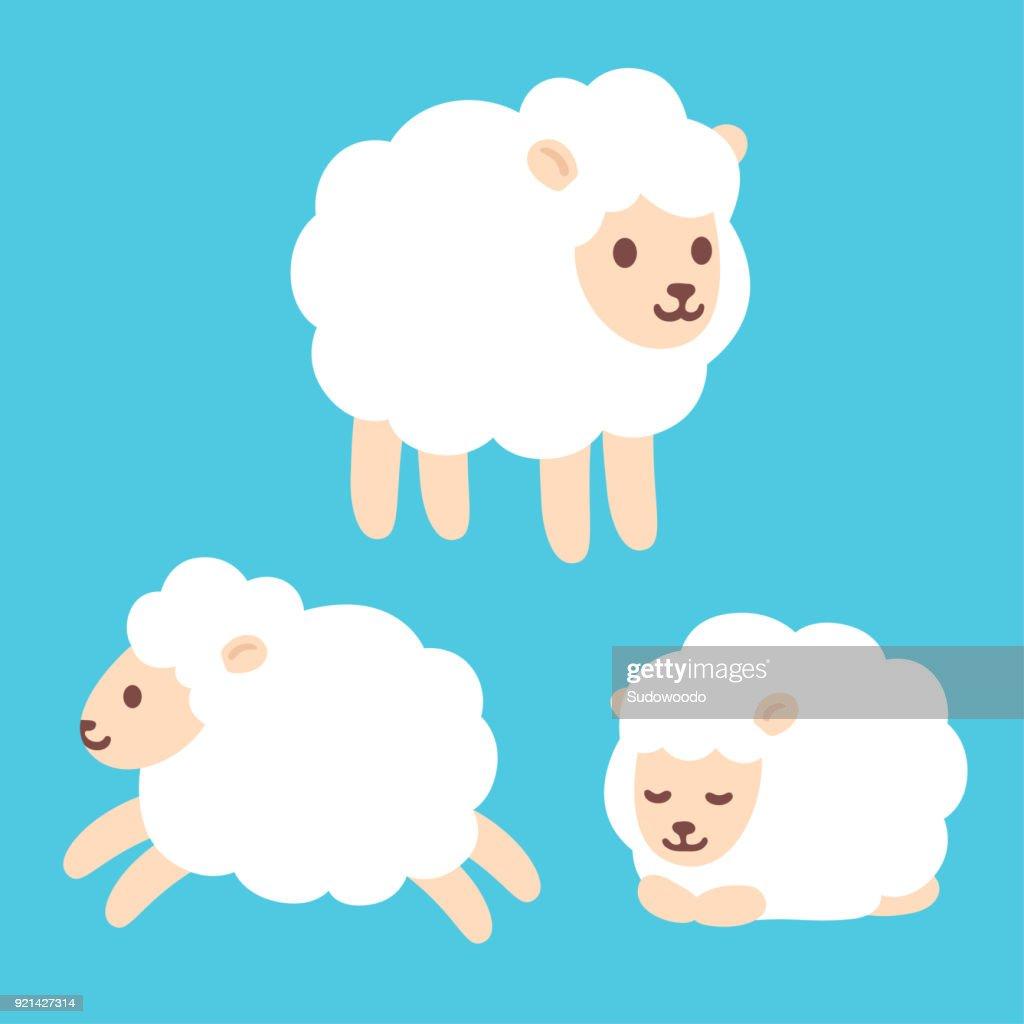 Cute cartoon sheep set