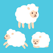 Cute cartoon sheep set