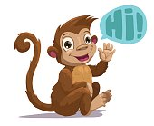 Cute cartoon sitting monkey