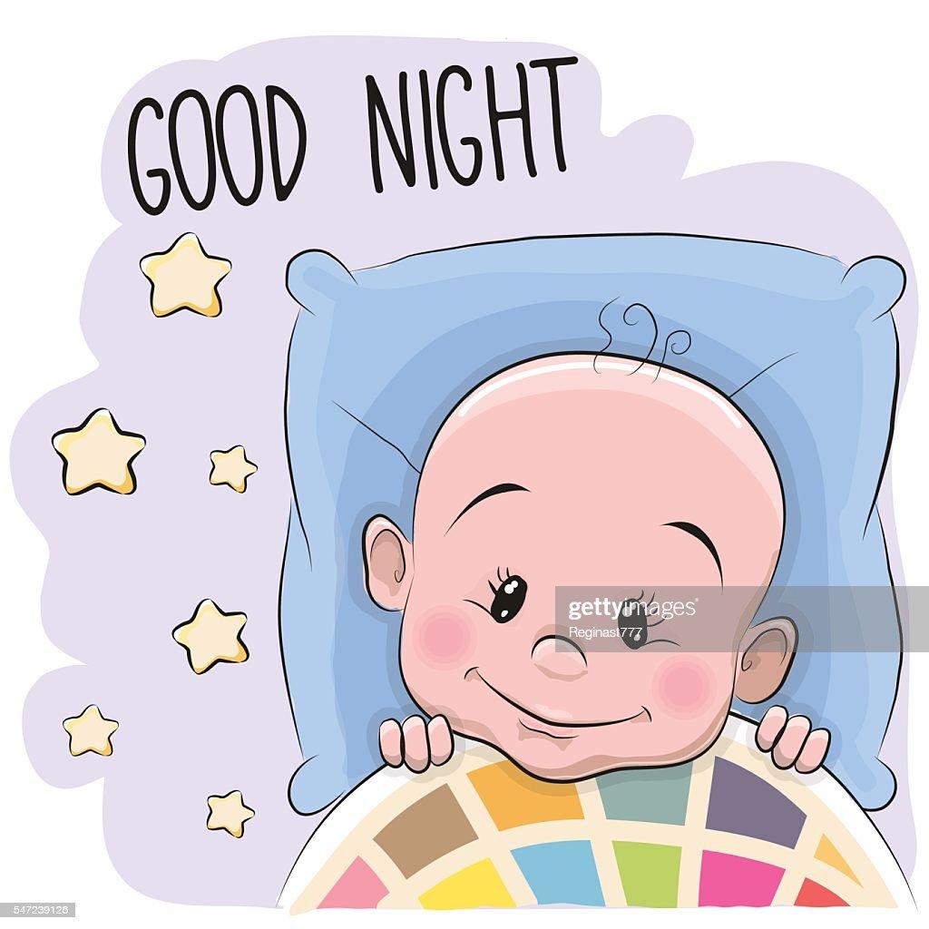 Cute Cartoon Sleeping Baby Boy