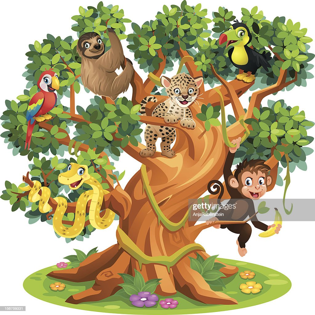 Cute Cartoon Snake, Monkey, Jaguar and birds in Jungle Tree