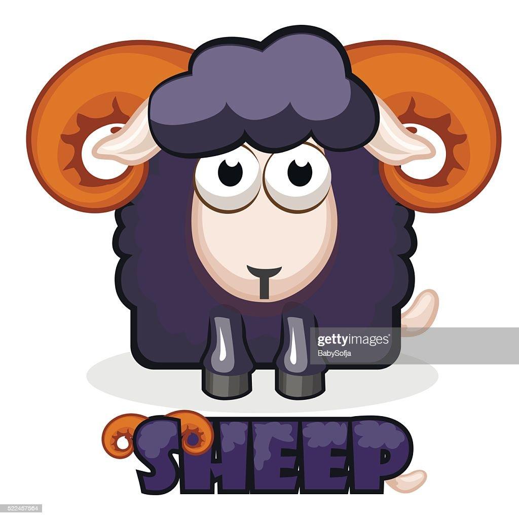 cute cartoon square black Sheep